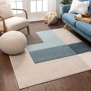 Modern Geometric Boxes Pattern Ivory Blue Multi Soft Area Rug