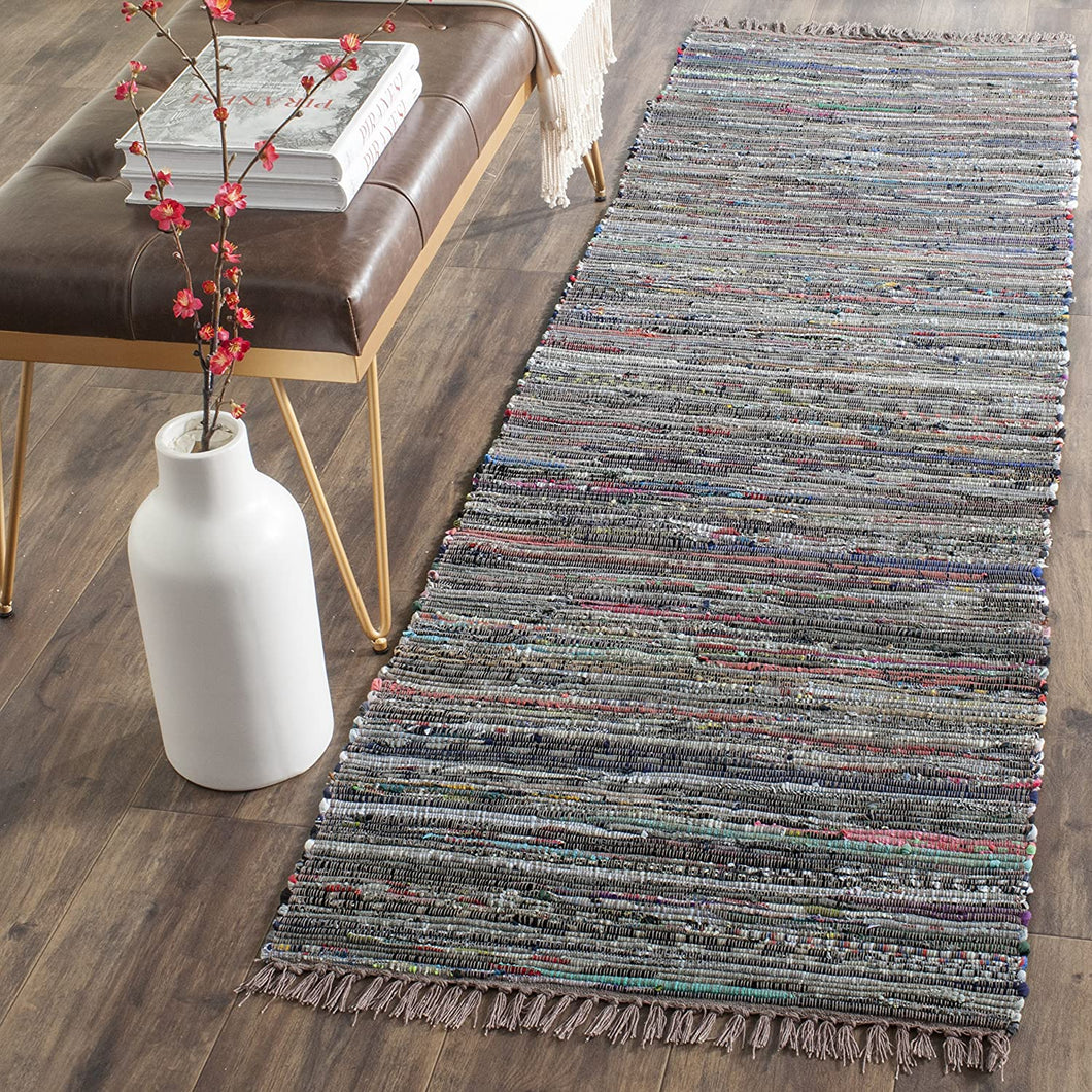 Hand Woven Rust and Multi Cotton Area Rug
