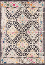 Boho Diamond Distressed Area Rug, Grey/Yellow