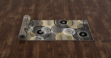 Contemporary Circles Gray/Grey Yellow White Black Area Rug