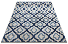 Trellis Blue Gray High Traffic Stain Resistant Indoor Outdoor Area Rug