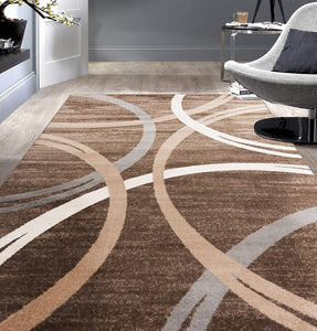 Contemporary Circles Pattern Brown Beige Soft Area Rugs