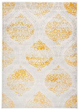 Floral Damask Yellow Ivory Area Rug