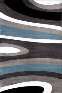 Gray/Grey Blue Abstract Area Rug