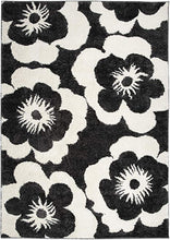 Floral Dark Gray Ivory Soft Shag Area Rug