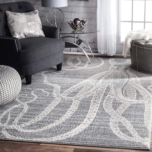 Octopus Pattern Gray Soft Area Rugs