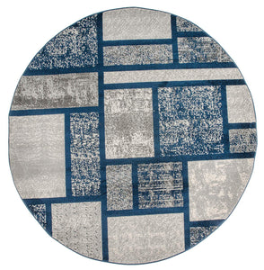 Box Pattern Navy Blue Area Rug