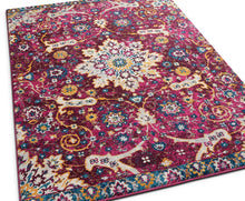 Purple Vintage Floral Medallion Area Rugs and Runners