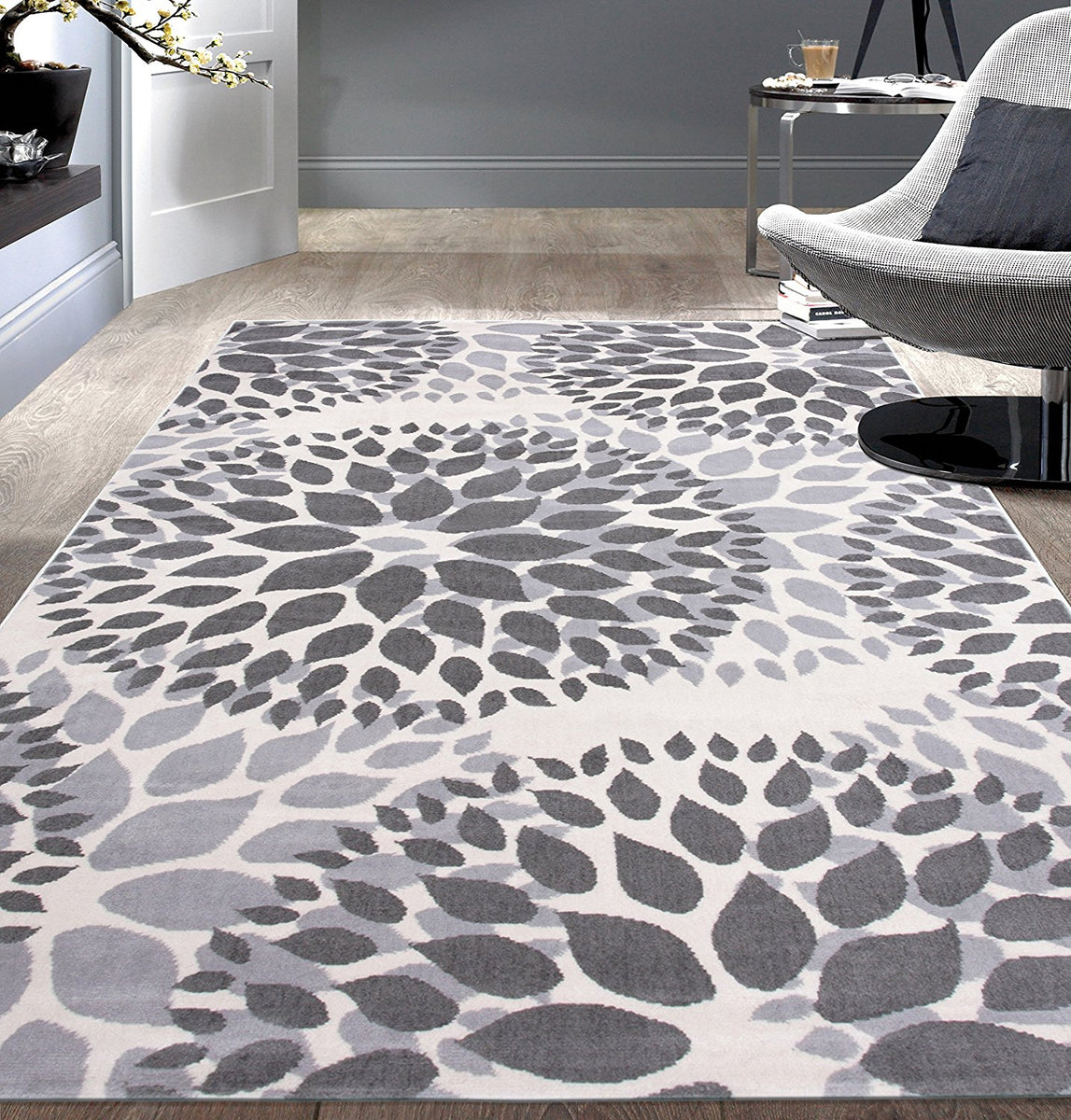 Floral Gray Grey Off White Area Rug Modern Rugs And Decor