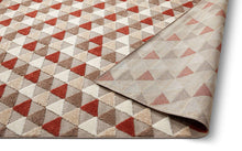 Geometric Triangles Red Beige High Traffic Stain Resistant Indoor Outdoor Area Rug