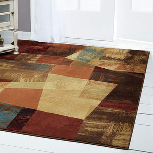 Contemporary Geometric Brown Beige Orange Soft Area Rugs