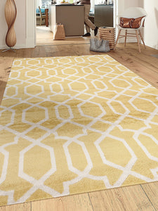 Yellow White Trellis Soft Area Rug