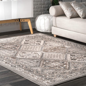 Becca Vintage Tile Area Rug,  Oval, Grey