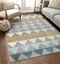 Triangles Geometric Grey Gold Area Rug