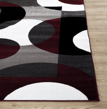 Circle Gray/Grey Burgundy Area Rug