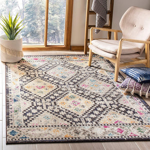 Boho Diamond Distressed Area Rug,Blue/Yellow