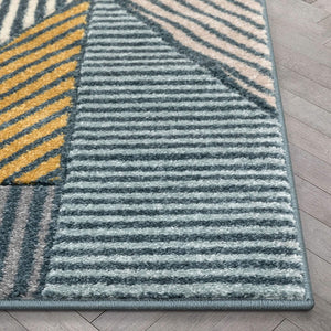 Multi Modern Geometric Boxes Triangles Pattern Area Rug