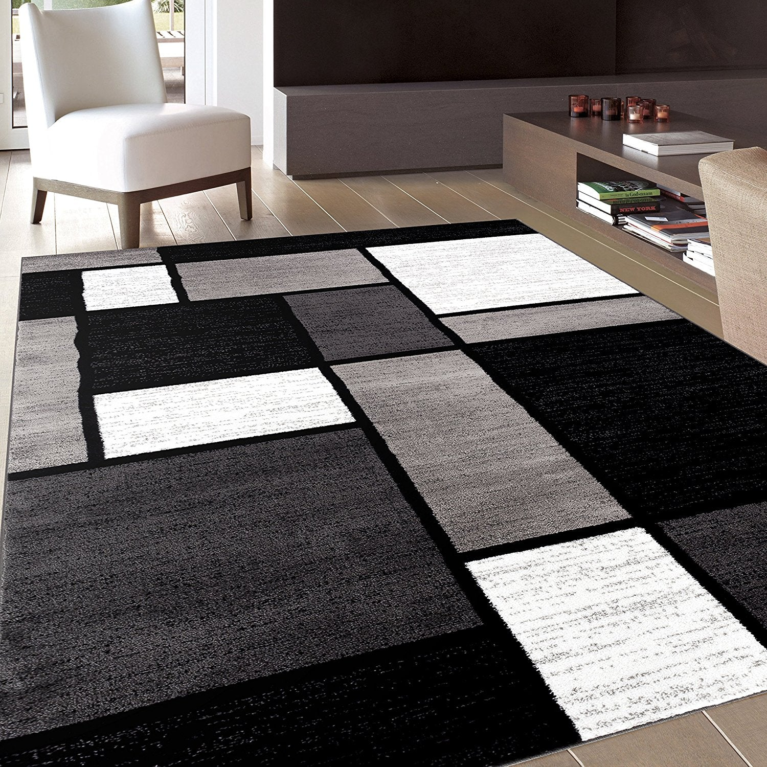 Box Pattern Gray/Grey Black White Area Rug – Modern Rugs and Decor