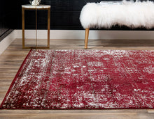 Vintage Distressed Bordered Burgundy Area Rugs
