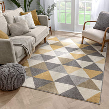 Isometry Gold Grey Modern Geometric Triangle Pattern Soft Area Rug