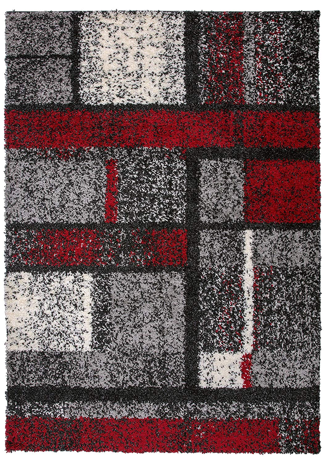 Geometric Pattern Red Gray Cozy Shag Area Rugs Modern