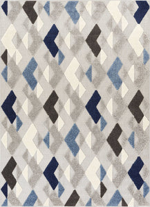 Diamond Blue Gray White High Traffic Stain Resistant Indoor Outdoor Area Rug