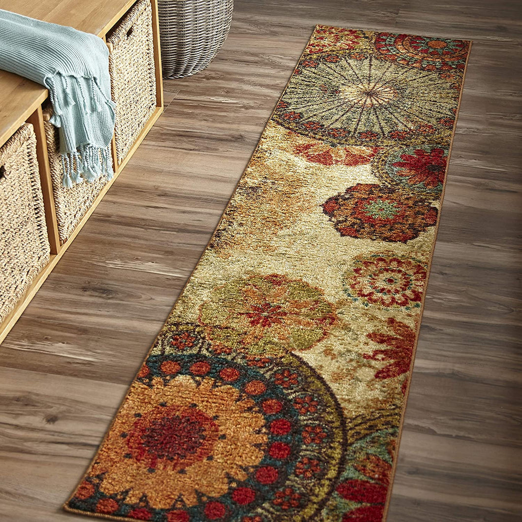 Multi-Color Floral Circle Area Rug Non-Slip