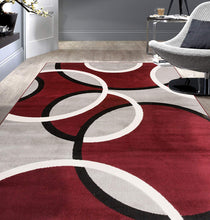 Contemporary Abstract Circles Soft Burgundy Red Gray Area Rug