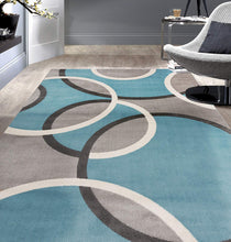 Contemporary Abstract Circles Soft Light Blue Gray Area Rug