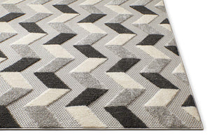 Gray White High Traffic Stain Resistant Chevron Indoor Outdoor Area Rug