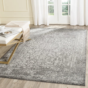 Vintage Oriental Grey and Ivory Area Rug