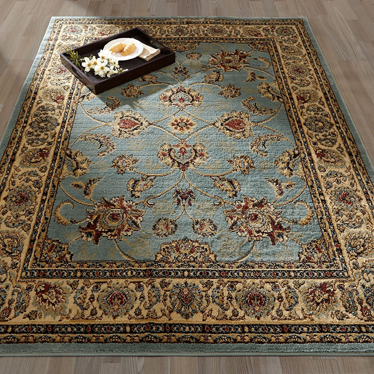Picture of: Traditional Sage Green Floral Area Rug Modern Rugs And Decor
