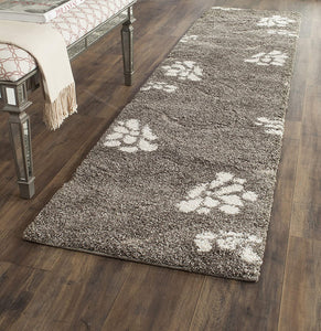 Smoke and Beige Floral Shag Area Rug