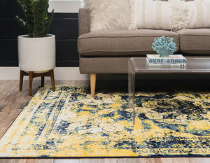Vintage Distressed Navy Blue Yellow Area Rugs