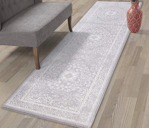 Oriental Design Gray/Grey/Ivory Area Rugs and Runners
