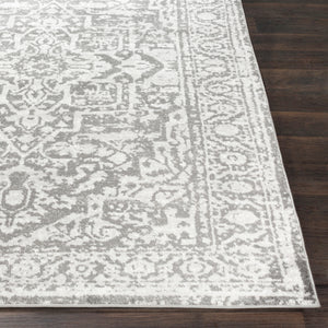 Vintage Medallion Charcoal Light Gray Area Rug