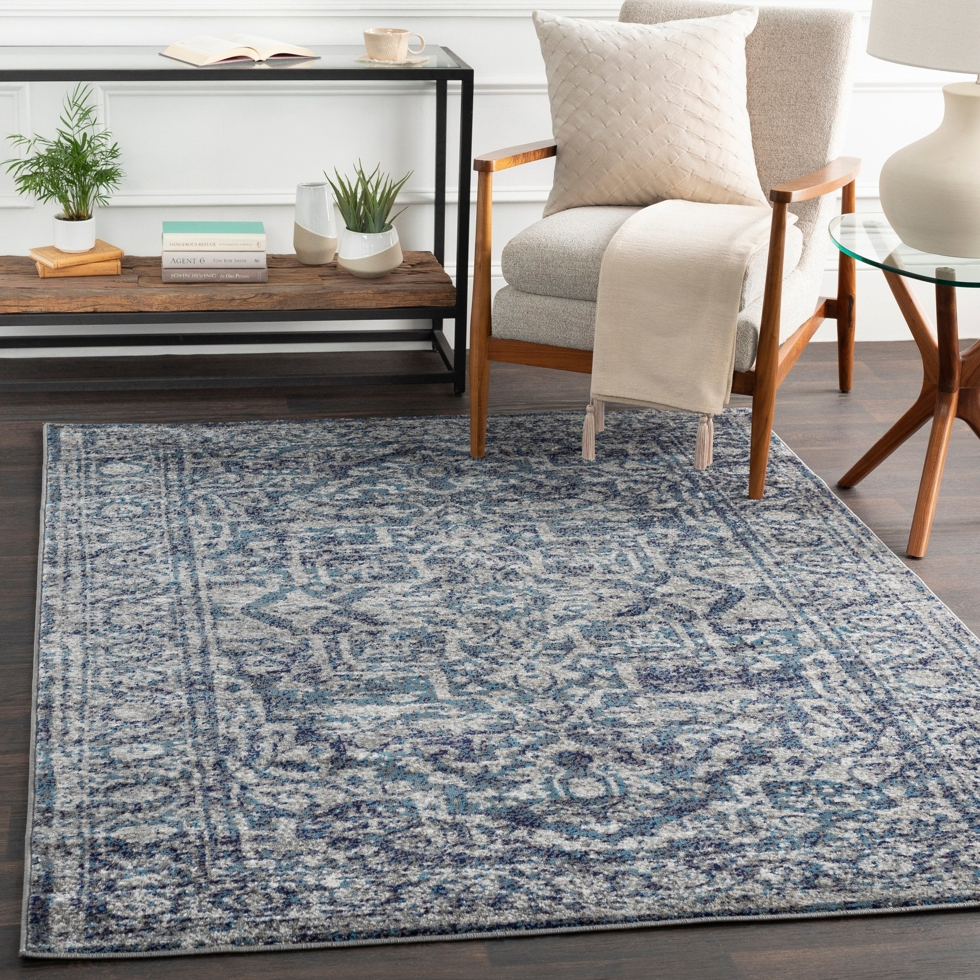 Picture of: Vintage Navy Blue Gray White Area Rug Modern Rugs And Decor