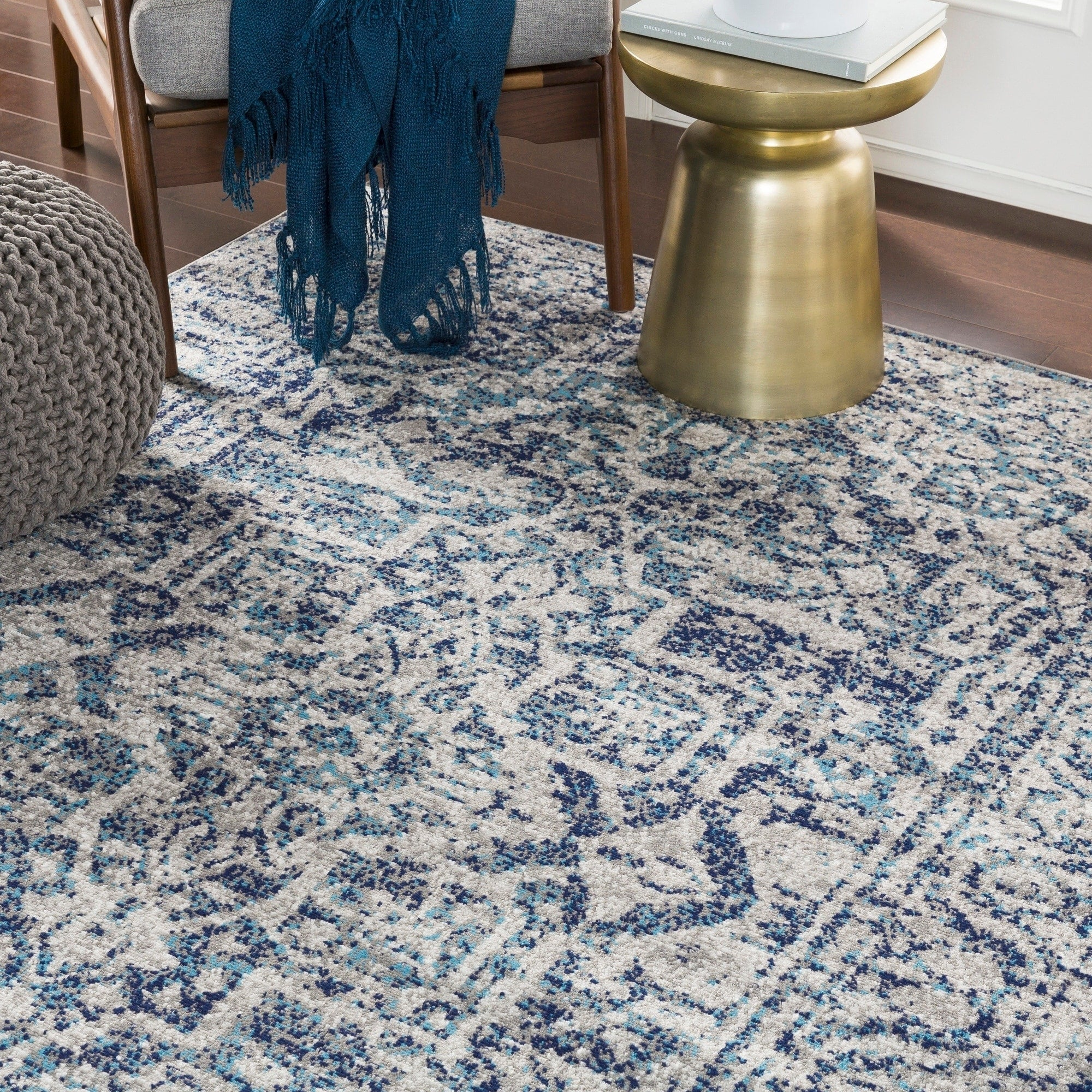 Image of: Vintage Navy Blue Gray White Area Rug Modern Rugs And Decor