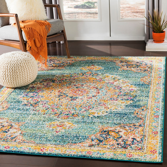 Vintage Medallion Teal Orange Multi-color Area Rug