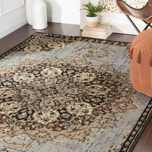 Floral Medallion Traditional Gray Brown Beige Area Rug Modern Rugs