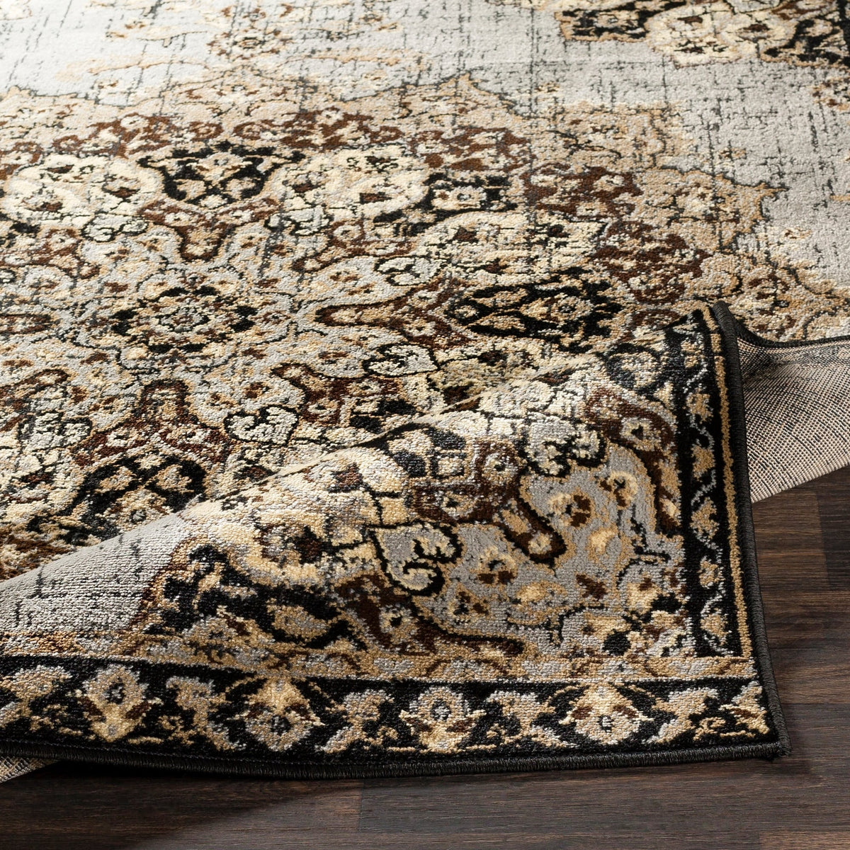 Floral Medallion Traditional Gray Brown Beige Area Rug