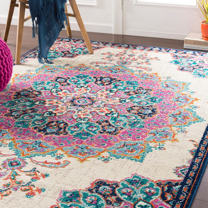 Floral Medallion Teal Fuchsia Cream Multi-color Area Rug