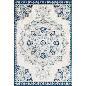 Floral Medallion Traditional Ivory Gray Navy Area Rug