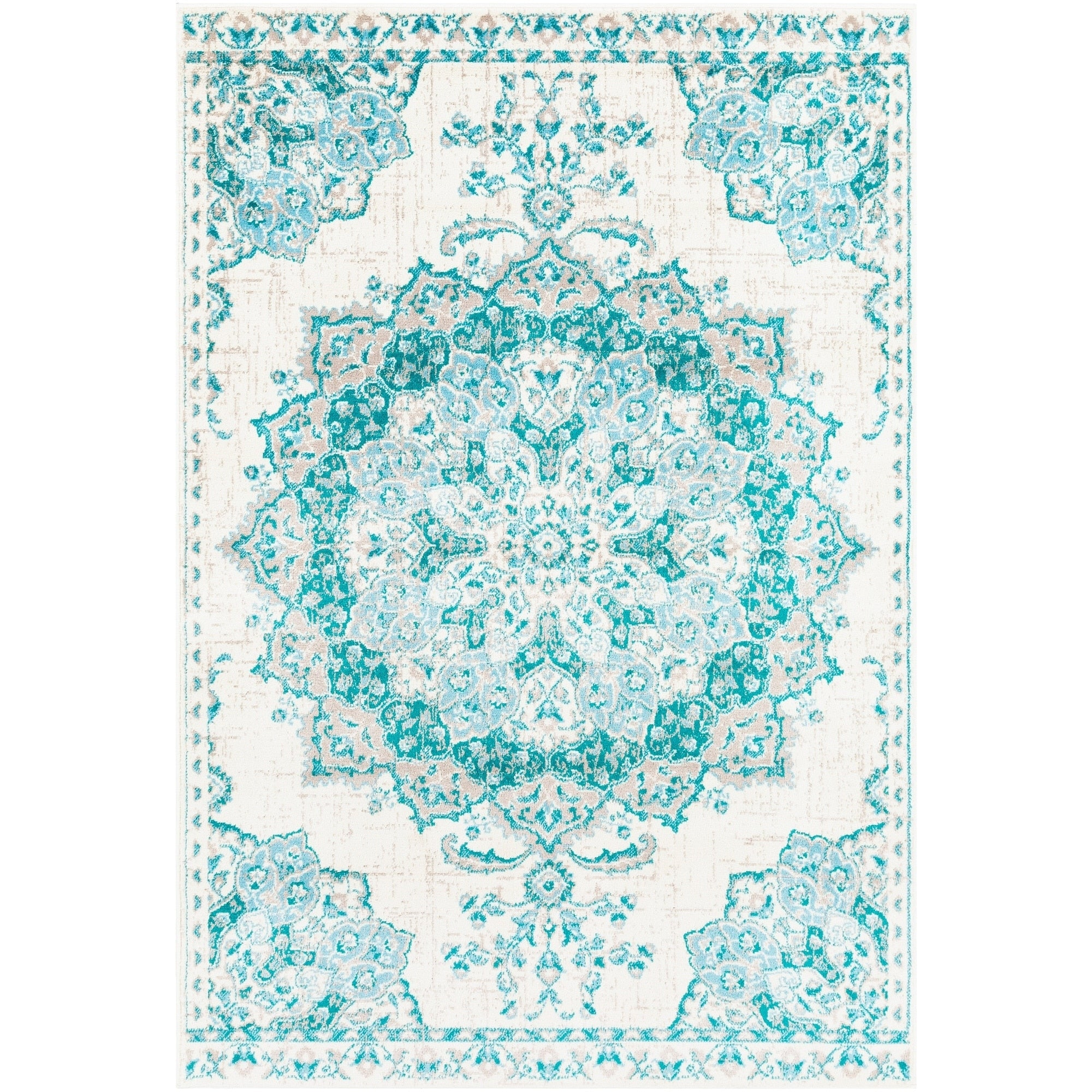 Traditional Medallion Teal Aqua Gray Area Rug Modern