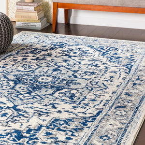 Traditional Navy Pale Blue Gray white Area Rugs