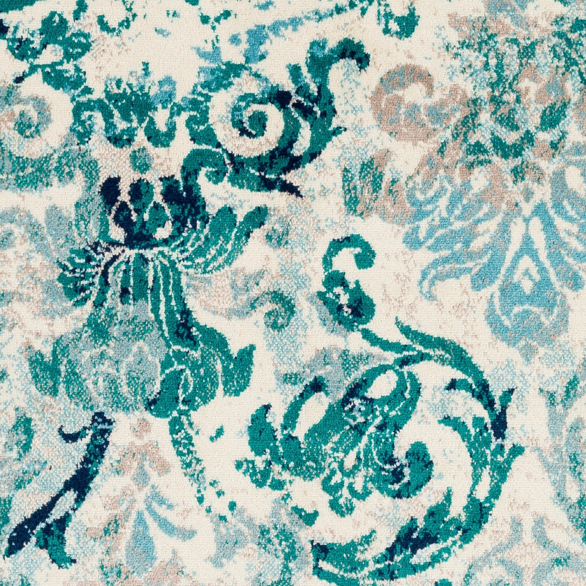 Damask Pattern Soft Teal Aqua Ivory Area Rug