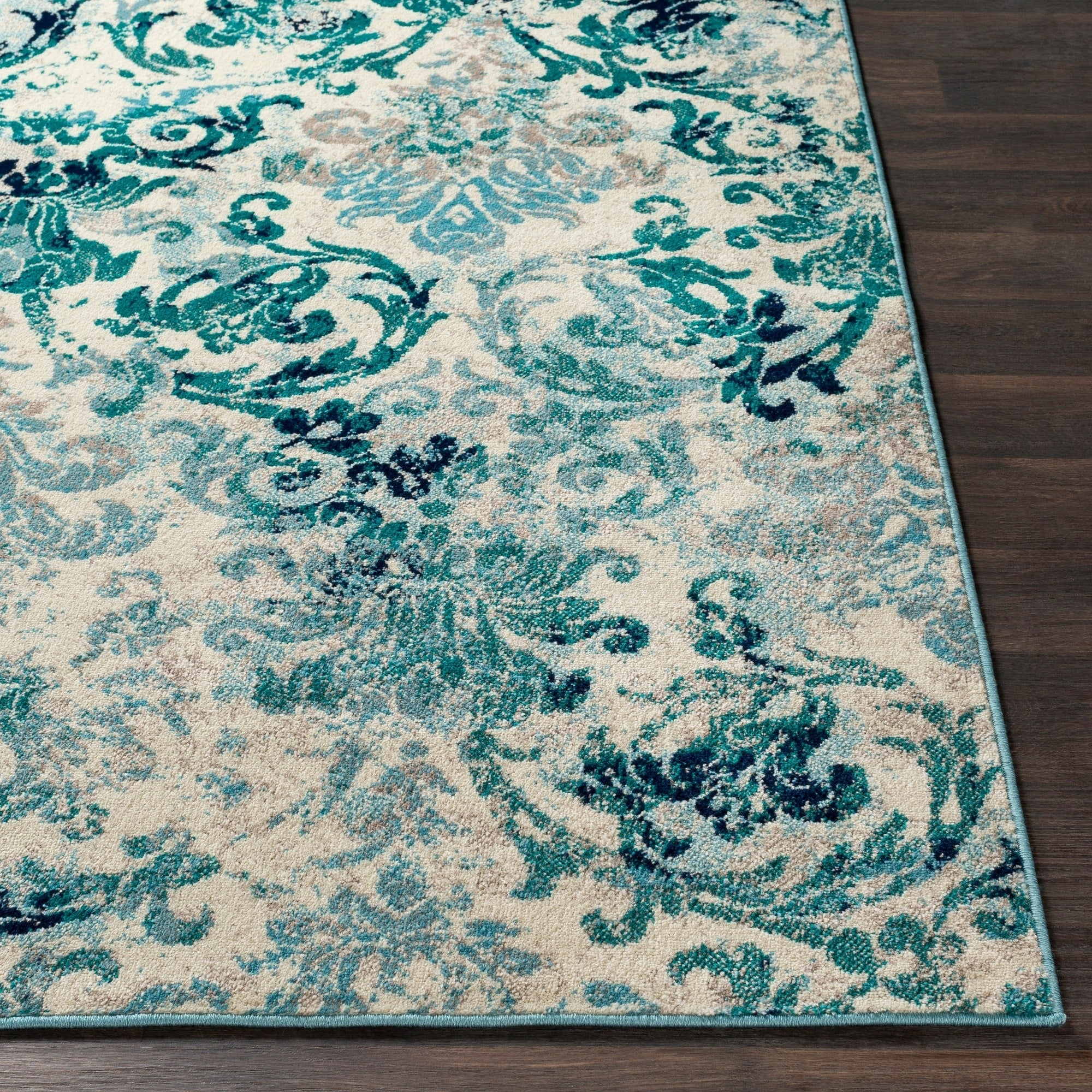 Picture of: Damask Pattern Soft Teal Aqua Ivory Area Rug Modern Rugs And Decor