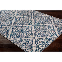 Transitional Floral Trellis Navy Blue Gray Ivory Area Rug