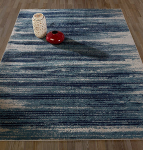 Stripes Design Teal/Navy/Beige Area Rugs