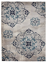 Medallion Design Gray/Grey / Navy / Teal / Beige Area Rugs
